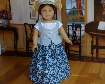 """Fits 18"""" American Girl Doll Clothes / Felicity / Historical 1700's Colonial Caraco Lace Up Vest 4 Pc. Set with Bergere Straw Hat"""
