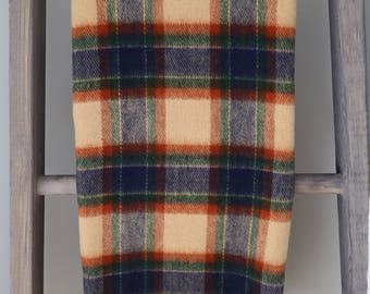 SALE: Vintage Faribo Tan & Blue Plaid Throw - Excellent Condition