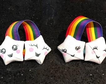 Kawaii, 3D origami stars, rainbow, hair bow, hairbow, clippie, hair clippie, adorable, cute, ribbon sculpture