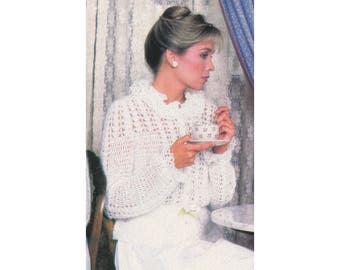 Crochet Pattern - Ruffled Cardigan - Elegant Lace Sweater with Peplum Waist & Ruffles