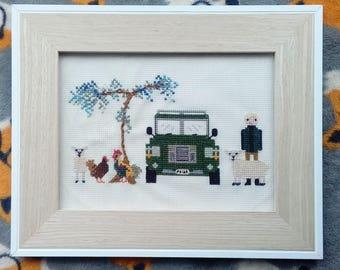 Cross stitch people, family portrait, 4 characters, farm, cross stitch, birthday, wedding, family, new baby, 2nd anniversary