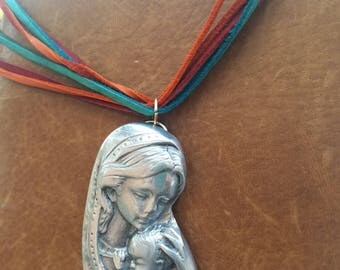 Mother child necklace leather