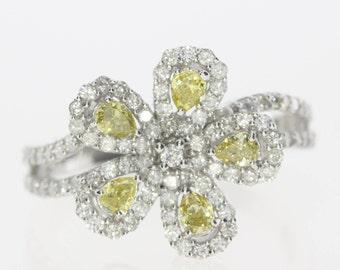 1 Carat Diamond Ring, Engagement Ring, Fancy Yellow Diamond Ring, Unique Diamond Ring, Big Diamond Ring, Free Shipping