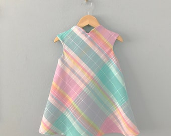 Ready to Ship, Beraunite Girls Dress, Pastel Plaid Dress, Pink Dress, Girls Easter Dress, Swing Dress, Girls Spring Dress, Modern Dress 2T