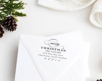 Return Address Stamp Christmas - Christmas Stamp - Holiday Return Address Stamp - Personalized Christmas Address Stamp - No. 7