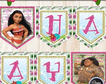 MOANA Happy Birthday Banner, Printable Moana Banner, Moana Party Printable, Moana Birthday Decor, Printable Moana Party Banner, Party Supply