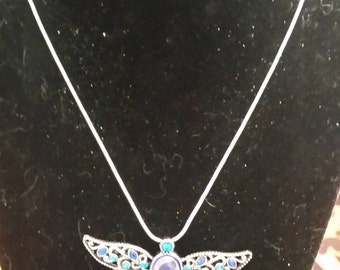 Blue dragonfly necklace