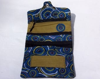 Tobacco pouch tobacco cloth, black, blue, Khaki, circles pattern fabric