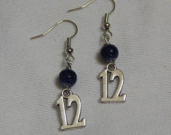 Seattle Seahawks Blue Earrings With 12 Charms