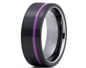Purple Tungsten Wedding Band Gunmetal Tungsten Ring Anniversary Band  Men & Women Purple Tungsten  Band Comfort Fit Black Tungsten