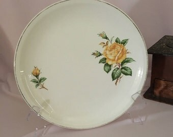 Paden City Pottery yellow roses dinner plate/yellow roses and gold trim plate/mid-century dinner plate