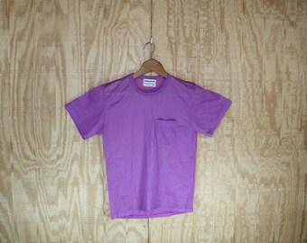Vintage 1970's Masterbuilt Carmine Pink Nylon Muscle T Shirt Small Medium S / M