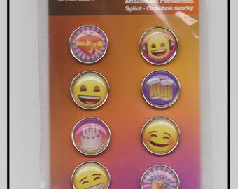 Birthday party cake gift Brads attached Parisian emoticons Emoji Scrapbooking