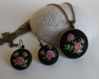 Embroidery Ukrainian Flower wife jewelry Hand embroidered pendant earring Eco pendant Floral jewelry Gift idea for wife Fabric necklace Pink