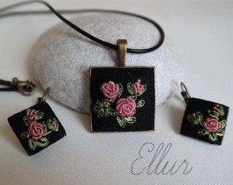Embroidery jewelry Pink rose jewelry Pink boho gift Special needs mom Grandmother necklace Embroidered pendant earring Ukrainian jewelry Eco
