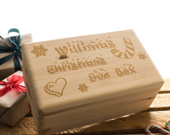 Personalised Christmas Eve Box - Personalised wooden box - 2 sizes available