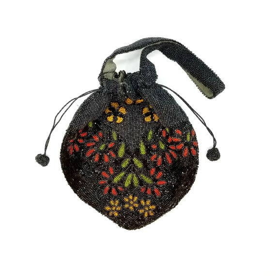 1930s Vintage Dramatic Beaded Floral Drawstring Handbag Made in Belgium