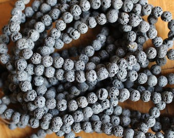 8mm Natural Gray Lava beads, full strand, natural stone beads, round, 80092