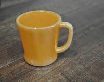 Vintage Fire King Peach Lustre D Handle Mug