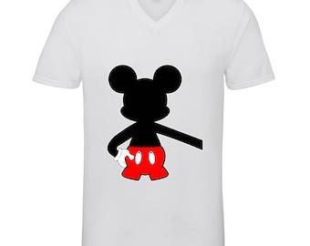 Designed Mickey Mouse Extended Hand Hugging Shirts Adult Unisex Men Size V Neck Best Seller T-Shirts