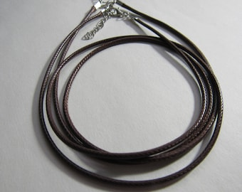 """20"""" 22"""" 24"""" Brown Leather Cord with Extender; 2 mm Faux Leather Necklace Cord/CLB20"""