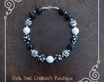 Zebra Print Bubblegum Necklace, Bubblegum Necklace, Beaded Necklace, Necklace, Accessories, Children's Necklace, Kid's Accessories
