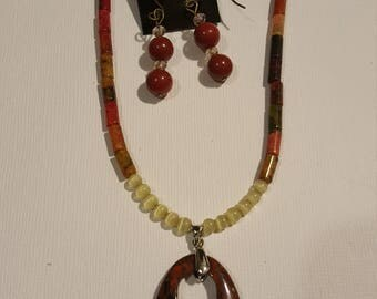 Red and black Jasper pendant & earrings
