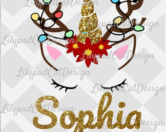 Unicorn Rudolph SVG file, PNG, and DXF Christmas svg, Reindeer lights svg, Unicorn svg, Unicorn Christmas, Christmas Cut file, Reindeer svg.