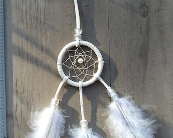 Handmade mini dream catcher white