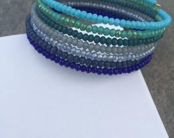 Blue crystal memory wire bracelet