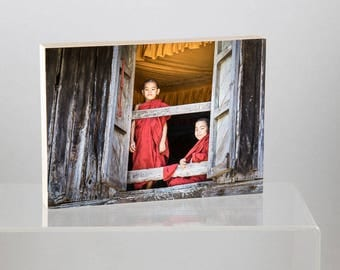 Two Novices at the Window, Myanmar, mounted on Wood Panel