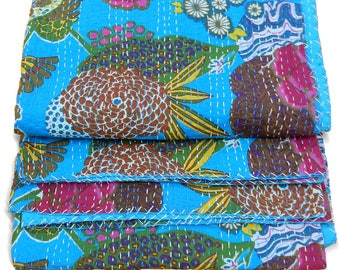 Kantha Quilt handmade reversible vintage bedspread Indian blanket gudri ralli throw