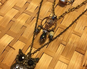 Three Multi-color Chain Necklace With Bronze Owl Pendant