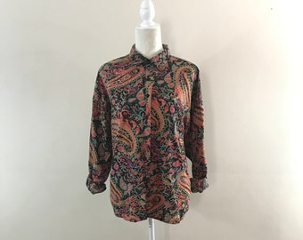 Vintage 1980s, Women's Medium, Psychedelic Paisley Blouse, Long Sleeved Button Up Shirt