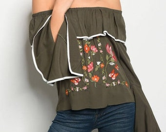 Olive embroidery Flowers Off Shoulder Top
