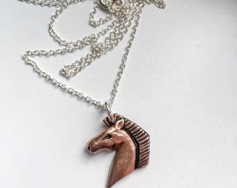Spirit - Handmade copper horse pendant