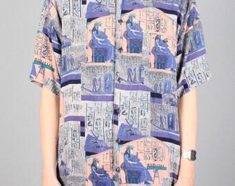90s pattern shirt - vintage purple cleopatra egyptian crazy print - 1990s button down shirt - short sleeve summer festival blouse - unisex