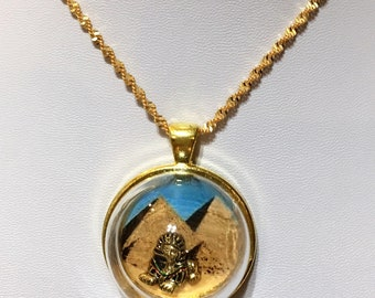 Egyptian pyramids and Sphinx Gold pendant necklace with chain glass globe #2