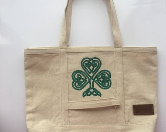 Glitter Shamrock Canvas Tote - Irish Girl Bag - St. Patricks day Gift - Lucky Tote Bag - St Patty's Day Bag