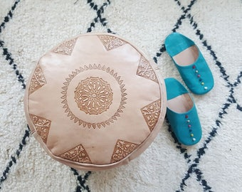 Moroccan natural POUF 25%off ** original Leather birthday gift