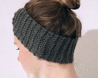 Grey/Charcoal Knitted Wool Handmade Hairband for Women