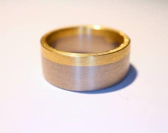 Ring of white gold and yellow gold * Wedding * wedding * Partner Ring * Engagement * Friendship *