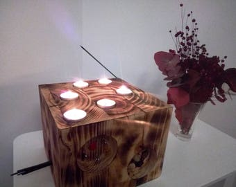 Wood Block (Woody By H - 1/3); Candleholder; Wooden Candleholder