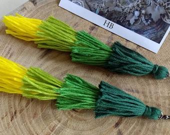 Green Ombré tassel earrings.