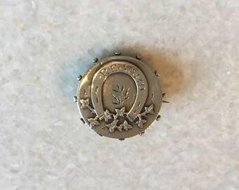Antique Silver Horseshoe Brooch