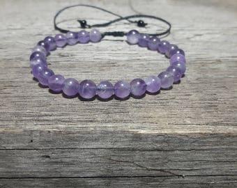 Amethyst Bracelet, Amethyst Jewelry, Crown Chakra, Healing Chakra, Natural Amethyst, Yoga Bracelet, healing bead bracelet, Purple bracelet