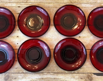 Vintage Arcoroc France Ruby Red Saucers - Set of 8 - Holiday Christmas Valentines Patriotic Glassware Coffee Tea Replacements