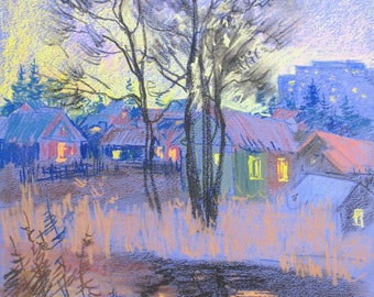Pastel drawing,  Autumn Landscape, River Landscape, City Landscape, Houses, The evening, Trees, Original drawing, Pastel art by Anna Trachuk