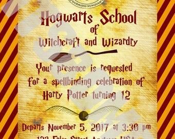 Custom Harry Potter Hogwarts Invitation (Gryffindor, Hufflepuff, Ravenclaw, Slytherin) Birthday, Wedding, Party etc.