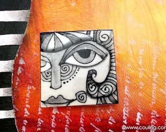 Artistic Kitchen Magnets - Stylized Woman's Face - Clay / Pottery 2X2 Hand Painted Ceramic Tile by artist, Cindy Couling